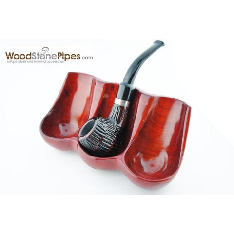 Decorative Rosewood Pipe Stand - Holds three pipes