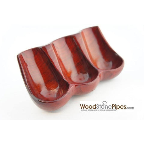 Decorative Rosewood Pipe Stand - Holds three pipes - WoodStonePipes.com   - 4
