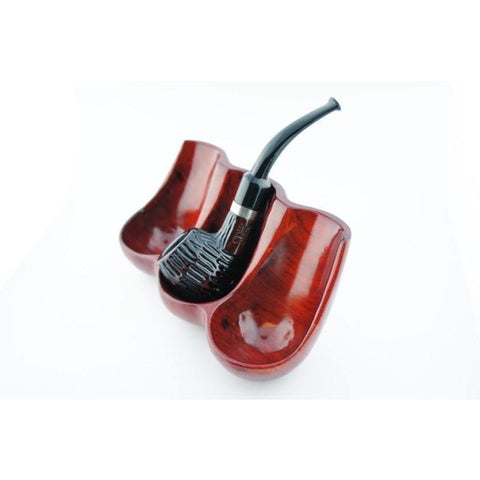 Decorative Rosewood Pipe Stand - Holds three pipes - WoodStonePipes.com   - 5