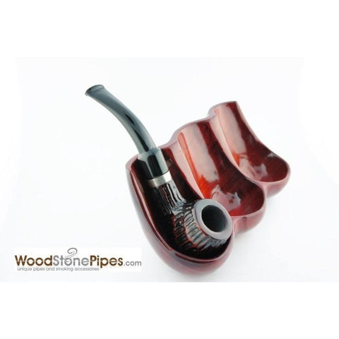Decorative Rosewood Pipe Stand - Holds three pipes - WoodStonePipes.com   - 7