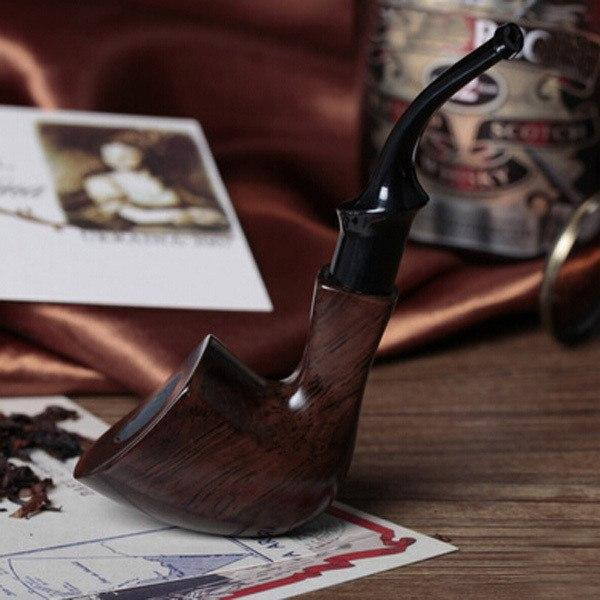 Ebony Wood Tobacco Smoking Pipe - Bent Style - WoodStonePipes.com   - 1