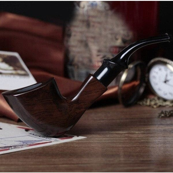 Ebony Wood Tobacco Smoking Pipe - Bent Style - WoodStonePipes.com   - 2