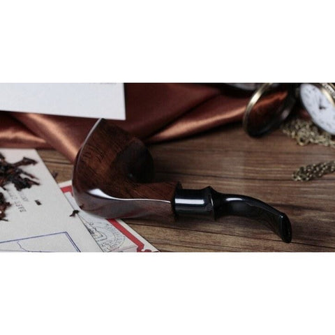 Ebony Wood Tobacco Smoking Pipe - Bent Style - WoodStonePipes.com   - 3