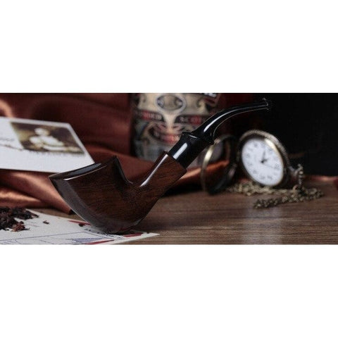 Ebony Wood Tobacco Smoking Pipe - Bent Style - WoodStonePipes.com   - 4