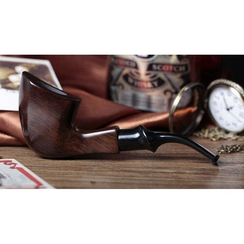 Ebony Wood Tobacco Smoking Pipe - Bent Style - WoodStonePipes.com   - 5