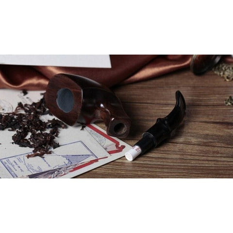 Ebony Wood Tobacco Smoking Pipe - Bent Style - WoodStonePipes.com   - 6