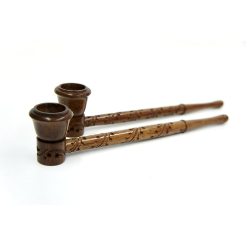 Long Handmade Beautifully Carved Wood Smoking Tobacco Pipe - 9