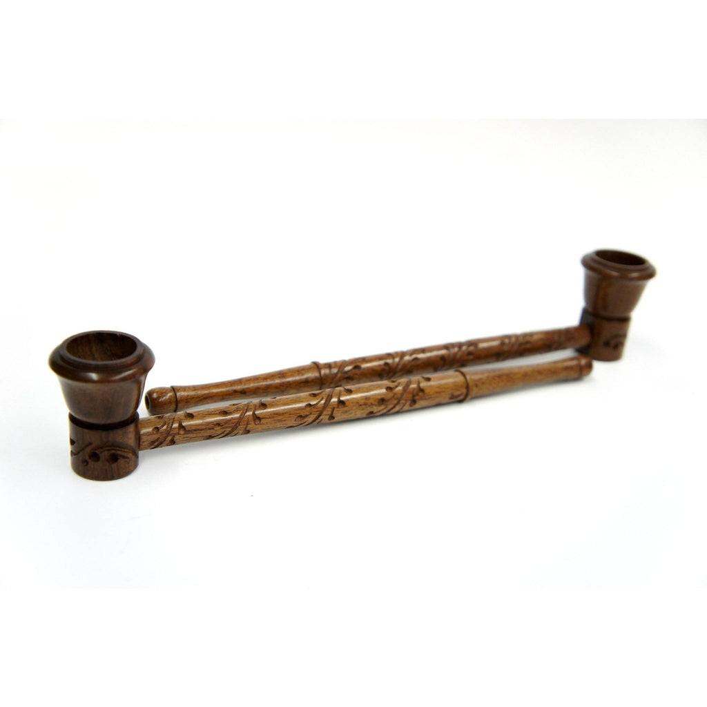 "Long Handmade  Beautifully Carved Wood Smoking Tobacco Pipe - 9"" - WoodStonePipes.com   - 2"