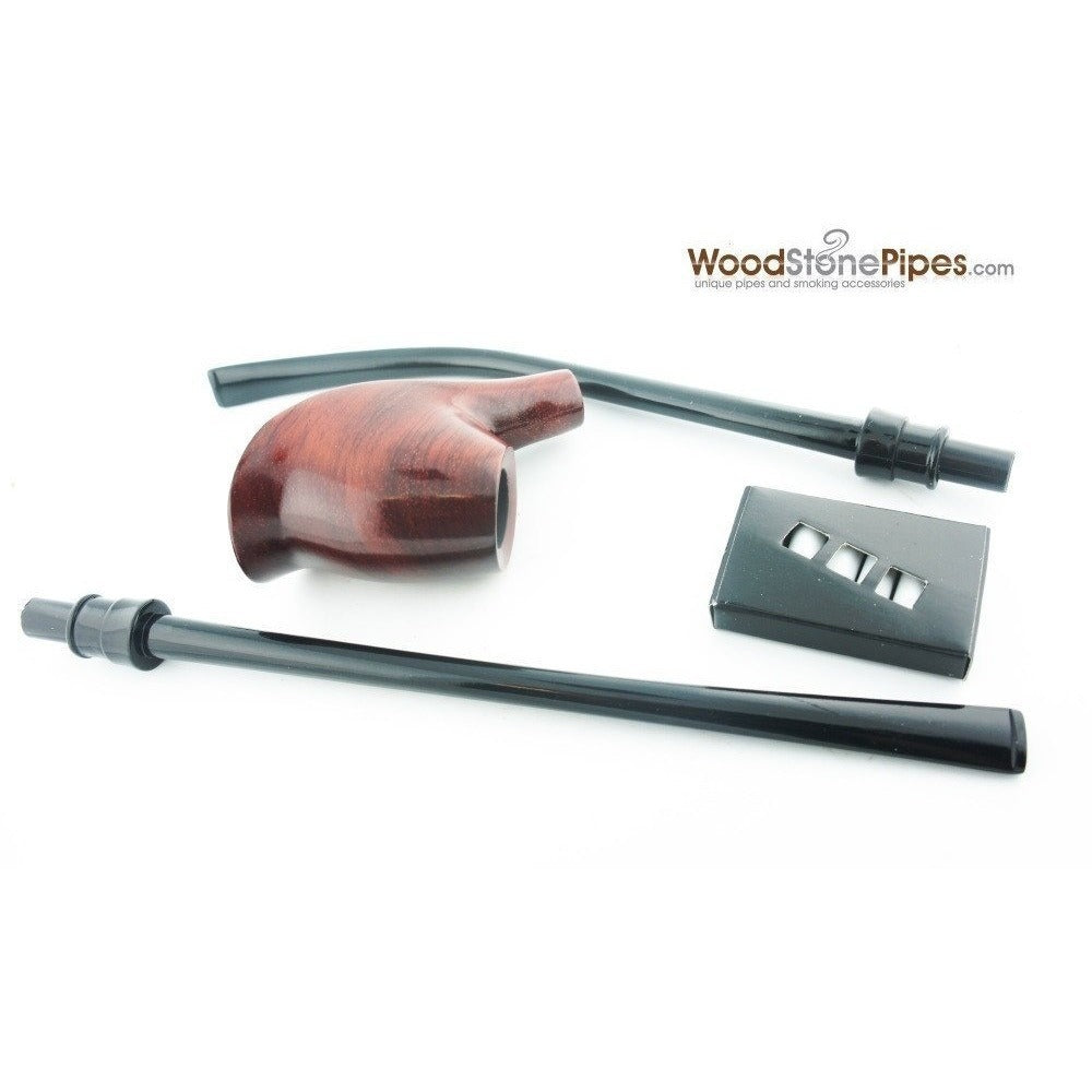 "Volcano Churchwarden Hybrid Rosewood Tobacco Pipe - 12.5"" - WoodStonePipes.com   - 7"