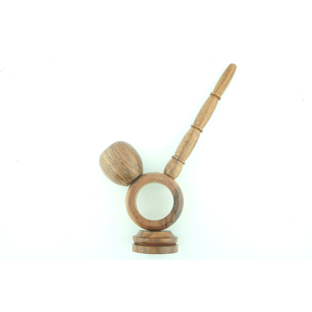 "Wood Smoking Tobacco Pipe 6.5"" Unique Design Wooden Collectible Pipe with Long Stem and Round Bowl - WoodStonePipes.com"