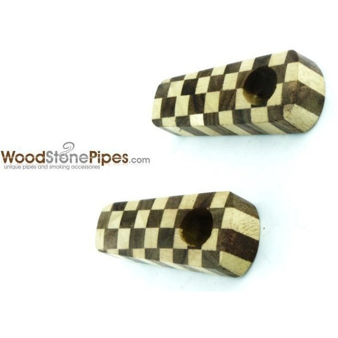 "2"" Checkerboard Wood Tobacco Pipe with Brass Screen - WoodStonePipes.com   - 2"