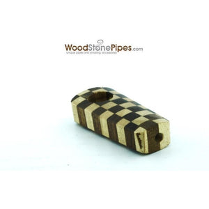 "2"" Checkerboard Wood Tobacco Pipe with Brass Screen - WoodStonePipes.com   - 4"