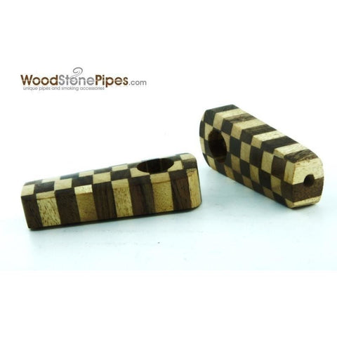 "2"" Checkerboard Wood Tobacco Pipe with Brass Screen - WoodStonePipes.com   - 5"