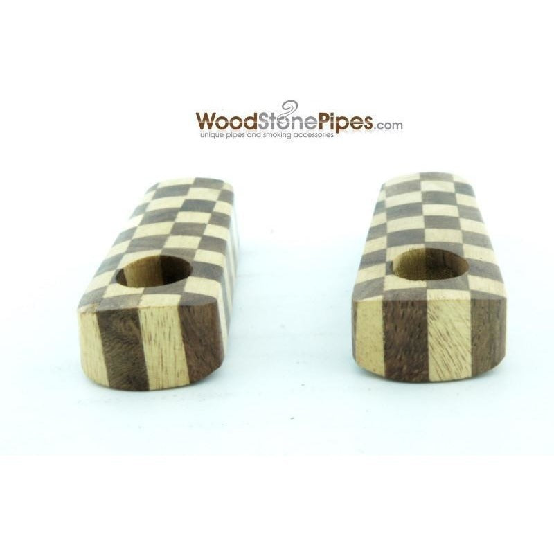 "2"" Checkerboard Wood Tobacco Pipe with Brass Screen - WoodStonePipes.com   - 7"