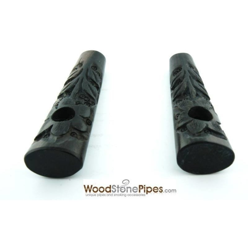 "3.5"" Ebony Wood Mini Smoking Tobacco Pipe with Carved Flower - WoodStonePipes.com   - 2"