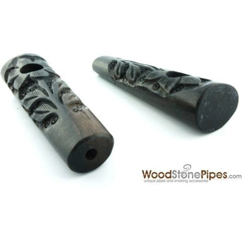 "3.5"" Ebony Wood Mini Smoking Tobacco Pipe with Carved Flower - WoodStonePipes.com   - 3"