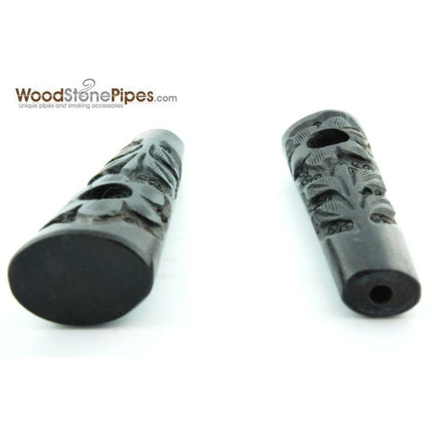 "3.5"" Ebony Wood Mini Smoking Tobacco Pipe with Carved Flower - WoodStonePipes.com   - 4"