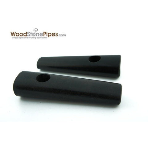 "3.5"" Ebony Wood Simple Mini Tobacco Pipe - WoodStonePipes.com   - 2"