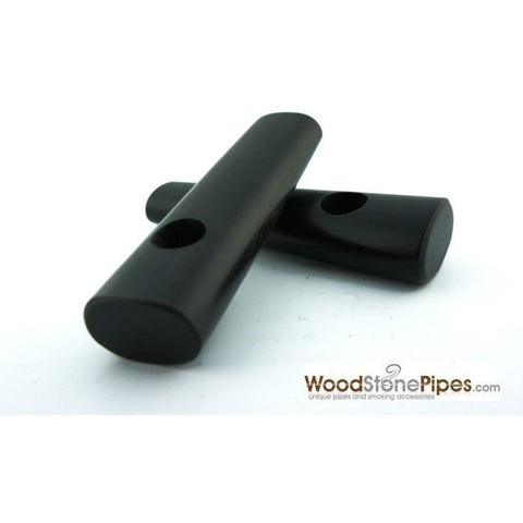 "3.5"" Ebony Wood Simple Mini Tobacco Pipe - WoodStonePipes.com   - 3"