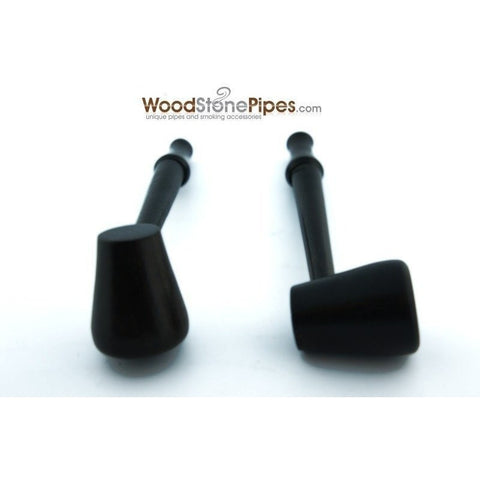 "3.5"" Mini Slim Black Straight Wood Pipe - WoodStonePipes.com   - 5"