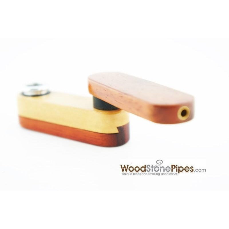 "3.5"" Mini Swivel Top Pocket Wood Tobacco Pipe - WoodStonePipes.com   - 2"