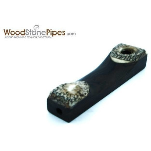 "3.5"" Mini Wood Pipe with Betel Nut Tips - WoodStonePipes.com   - 1"