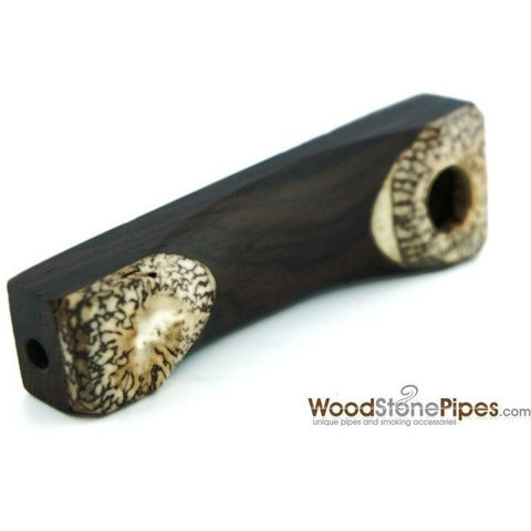 "3.5"" Mini Wood Pipe with Betel Nut Tips - WoodStonePipes.com   - 2"