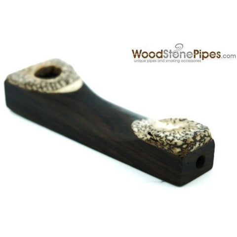 "3.5"" Mini Wood Pipe with Betel Nut Tips - WoodStonePipes.com   - 3"