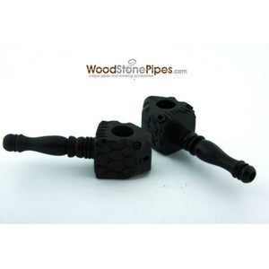 "3"" Mini Black Carved Fish Head Wood Pipe - WoodStonePipes.com   - 1"