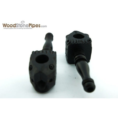 "3"" Mini Black Carved Fish Head Wood Pipe - WoodStonePipes.com   - 2"