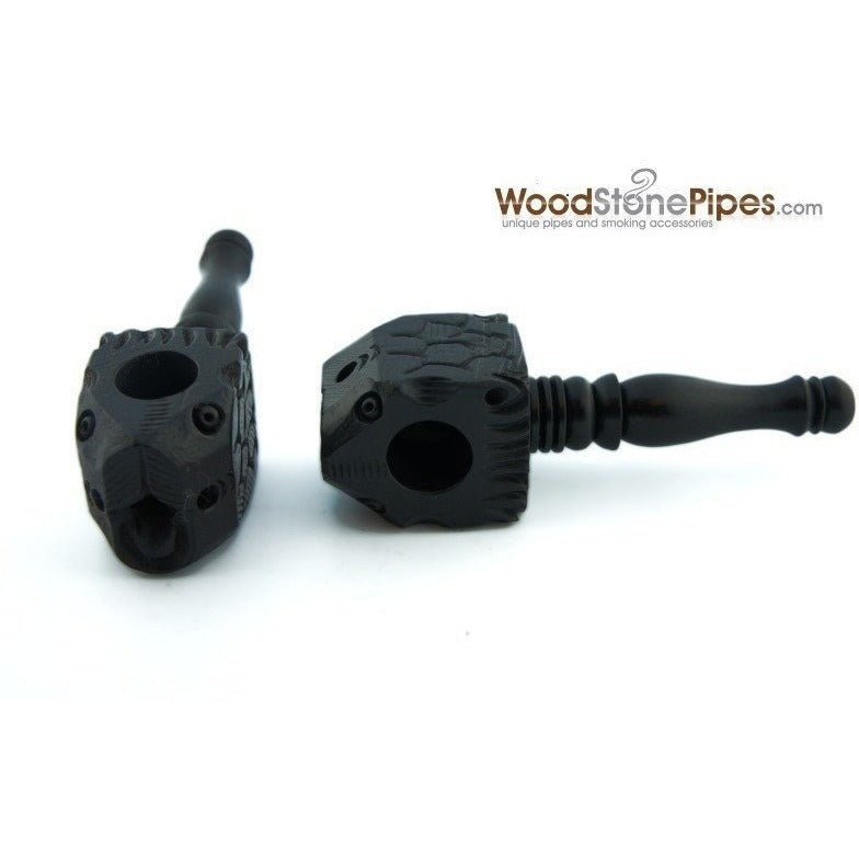 "3"" Mini Black Carved Fish Head Wood Pipe - WoodStonePipes.com   - 3"