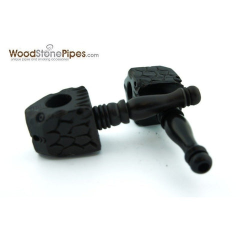 "3"" Mini Black Carved Fish Head Wood Pipe - WoodStonePipes.com   - 4"