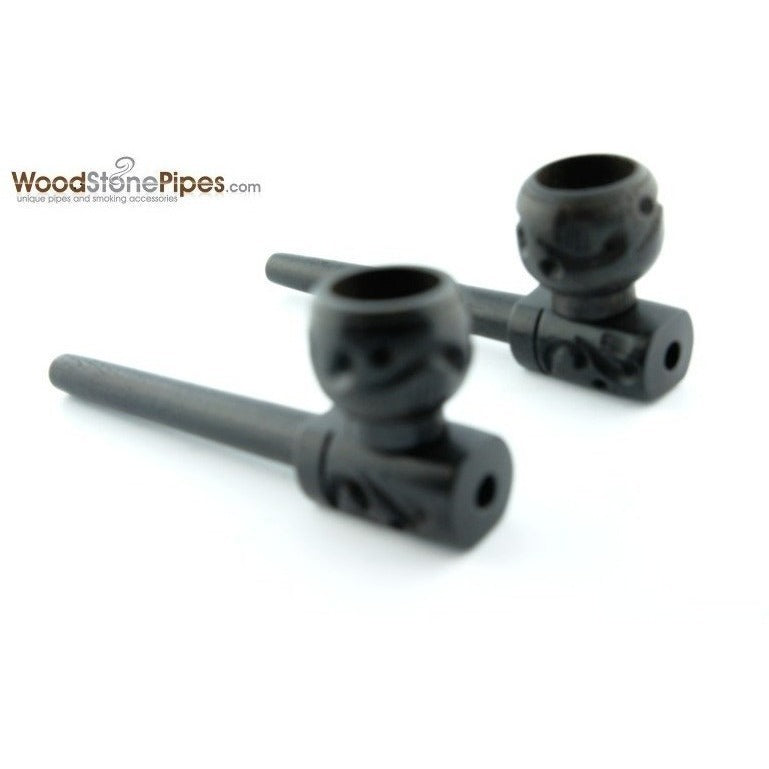 "3"" Mini Black Hand Carved Ebony Wood Straight Tobacco Pipe - WoodStonePipes.com   - 1"