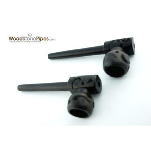 "3"" Mini Black Hand Carved Ebony Wood Straight Tobacco Pipe - WoodStonePipes.com   - 4"