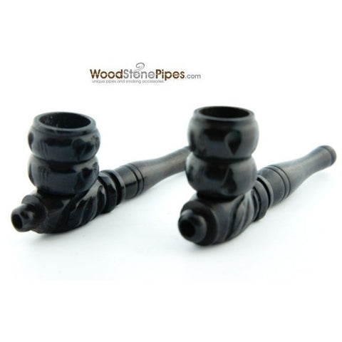 "3"" Mini Black Hand Carved Ebony Wood Tobacco Pipe - WoodStonePipes.com   - 1"