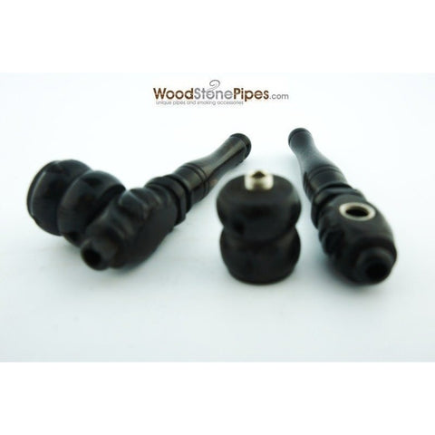 "3"" Mini Black Hand Carved Ebony Wood Tobacco Pipe - WoodStonePipes.com   - 3"