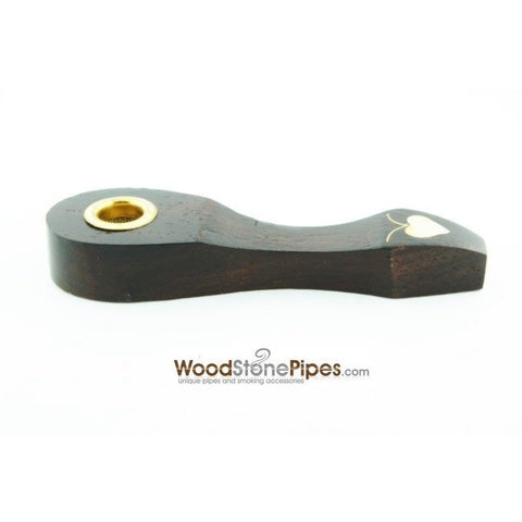 "3"" Mini Carved Wood Tobacco Pipe With Heart Design - WoodStonePipes.com   - 2"