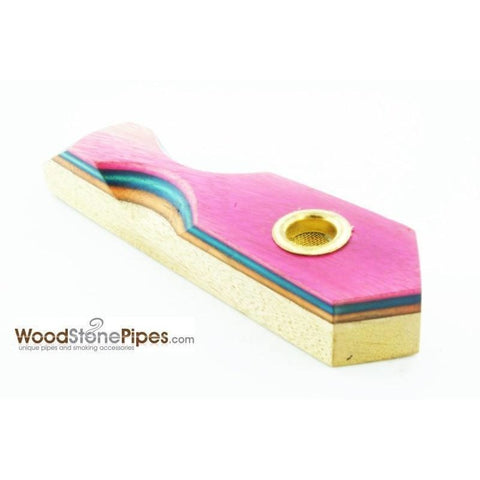 "3"" Mini Cedar & RoseWood Tobacco Pipe with Brass Screen - WoodStonePipes.com   - 5"