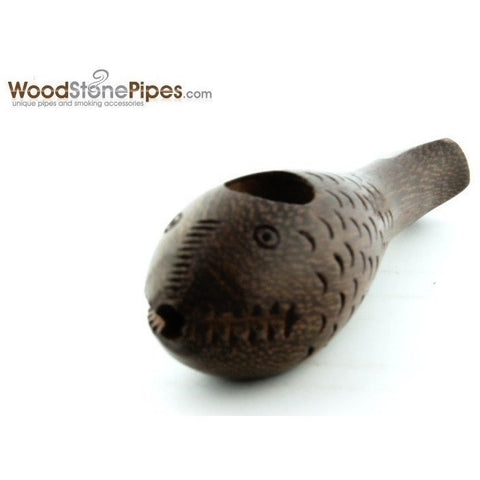 "3"" Mini Rosewood Carved ""Crazy Fish"" Wood Wodden Collectible Smoking Tobacco Pipe - WoodStonePipes.com   - 3"