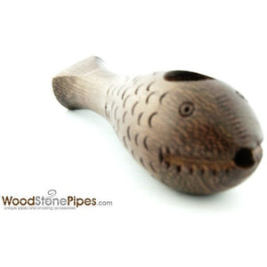 "3"" Mini Rosewood Carved ""Crazy Fish"" Wood Wodden Collectible Smoking Tobacco Pipe - WoodStonePipes.com   - 4"