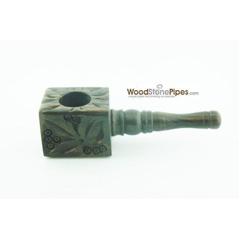 "3"" Mini Smoking Wood Wooden Handmade Tobacco Pipe with Carved Flower Design - WoodStonePipes.com   - 1"