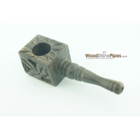 "3"" Mini Smoking Wood Wooden Handmade Tobacco Pipe with Carved Flower Design - WoodStonePipes.com   - 2"