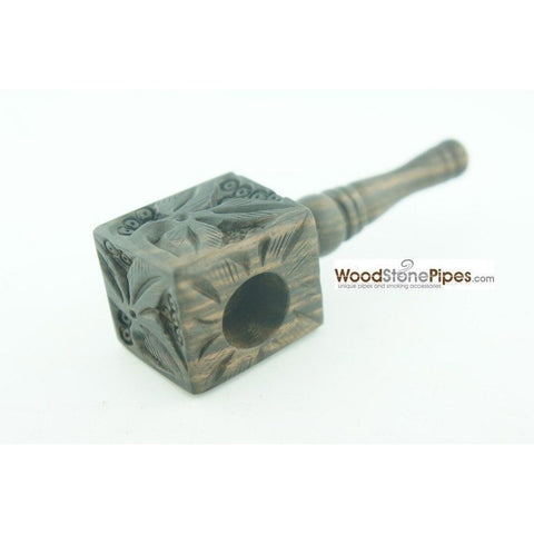 "3"" Mini Smoking Wood Wooden Handmade Tobacco Pipe with Carved Flower Design - WoodStonePipes.com   - 4"