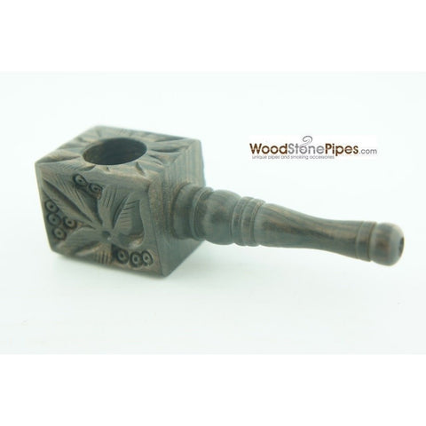 "3"" Mini Smoking Wood Wooden Handmade Tobacco Pipe with Carved Flower Design - WoodStonePipes.com   - 5"