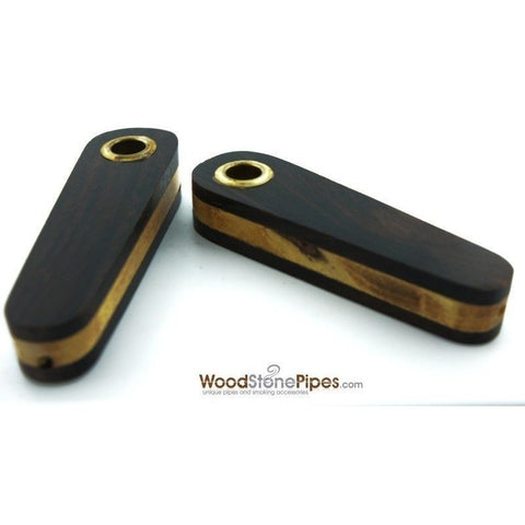 "3"" Mini Teardrop Shape Cedar & Rosewood Tobacco Pipe with Brass Screen - WoodStonePipes.com   - 1"