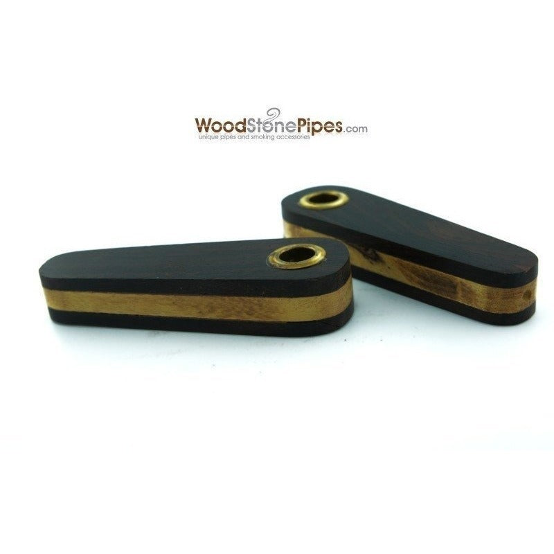 "3"" Mini Teardrop Shape Cedar & Rosewood Tobacco Pipe with Brass Screen - WoodStonePipes.com   - 2"