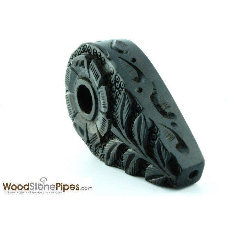 "3"" Rosewood Mini Smoking Tobacco Pipe with Carved Flower Design - WoodStonePipes.com   - 3"