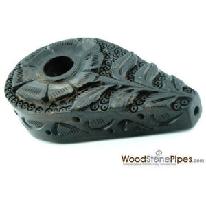 "3"" Rosewood Mini Smoking Tobacco Pipe with Carved Flower Design - WoodStonePipes.com   - 4"