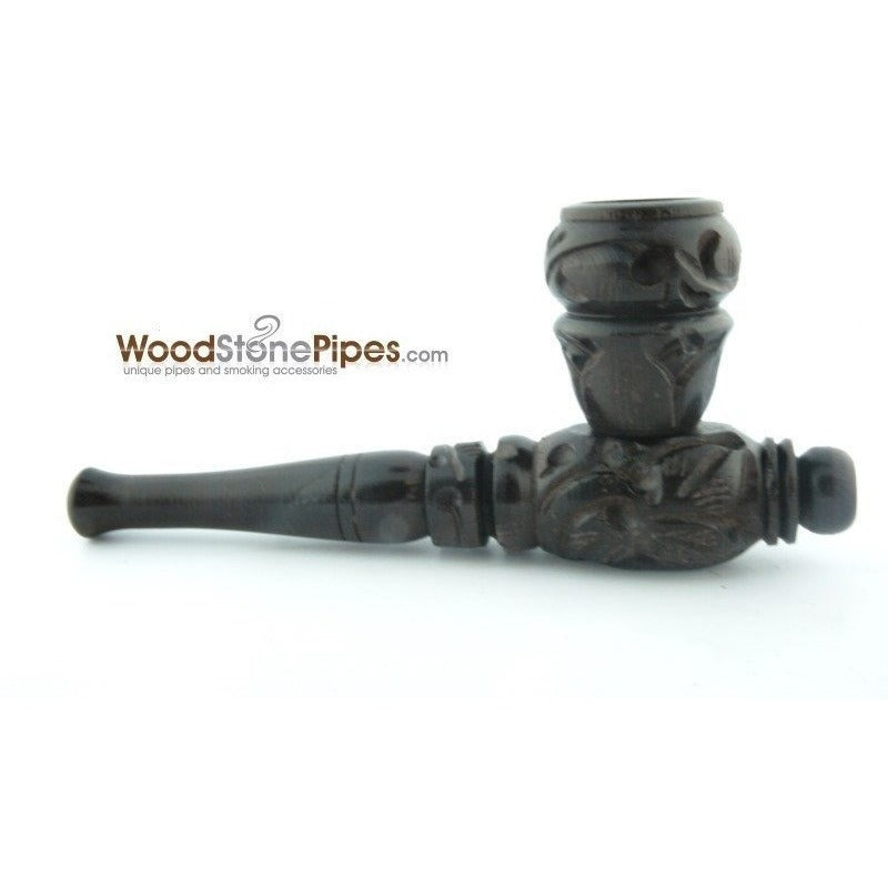 "4"" Carved Collectible Ebony Wooden Handmade Smoking Tobacco Pipe - WoodStonePipes.com   - 1"