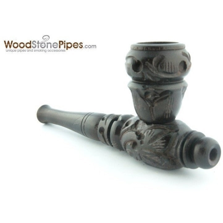 "4"" Carved Collectible Ebony Wooden Handmade Smoking Tobacco Pipe - WoodStonePipes.com   - 3"